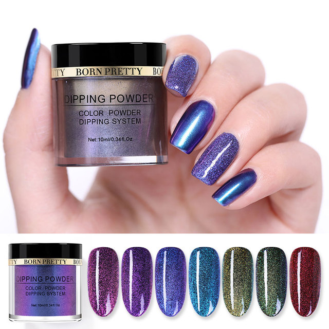 BORN PRETTY 10ml Chameleon Powder Nail Dipping System Without Lamp Cure Natural Dry Mirror Effect Glitter Nail Art