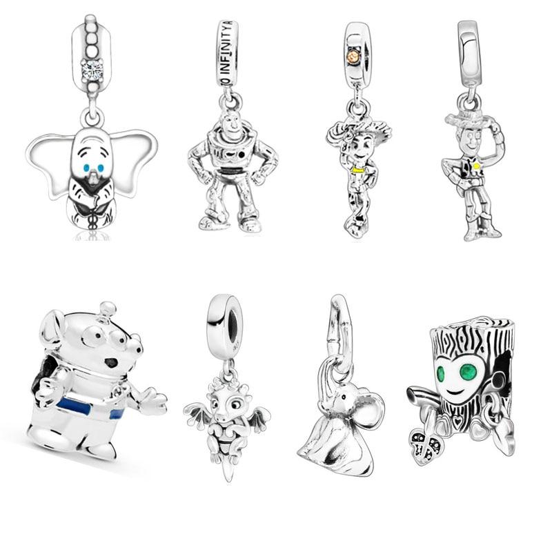 New Sterling Silver Beads Woody Jessie,Buzz Lightyear Toy Story Pendant Charms Fit Original Pandora Bracelets Women DIY Jewelry