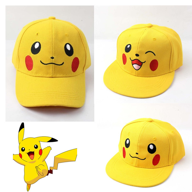 Anime Pocket Monster Pokemon Pikachu Cosplay Hat Kawaii Demo Cotton Baseball Cap Sports Sunscreen Travel Hats Caps Adjustable