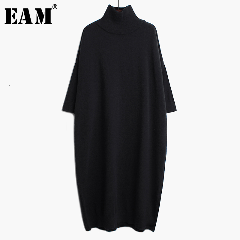 [EAM] Women Black Long Big Size Knitting Dress New High Collar Long Sleeve Loose Fit Fashion Tide Spring Autumn 2020 1K122