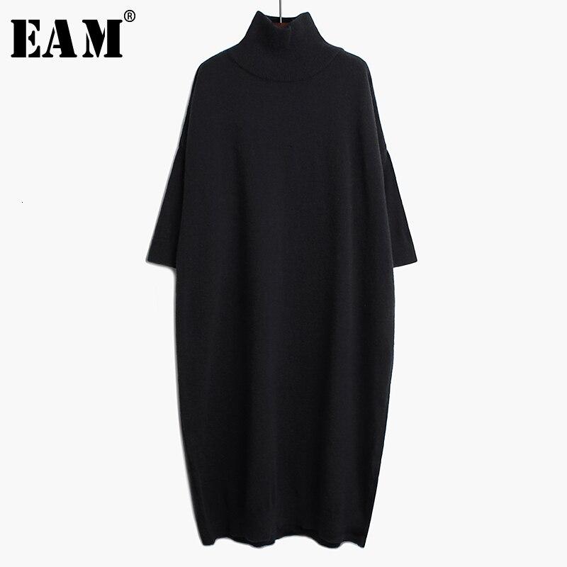 [EAM] Women Black Long Big Size Knitting Dress New High Collar Long Sleeve Loose Fit Fashion Tide Spring Autumn 2020 1K122