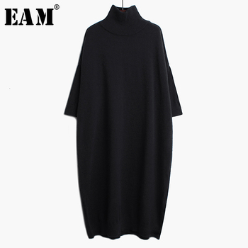 [EAM] Women Black Long Big Size Knitting Dress New High Collar Long Sleeve Loose Fit Fashion Tide Spring Autumn 2020 1K122 [eam] pelated split big size knitting sweater loose fit turtleneck long sleeve women pullovers new fashion spring 2020 1m877