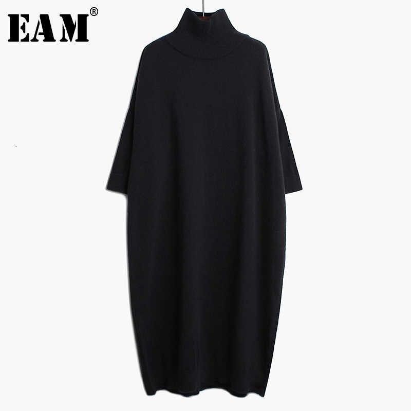 [EAM] Vestido de punto negro largo de talla grande nuevo cuello alto manga larga ajuste suelto moda marea primavera otoño 2020 1K122