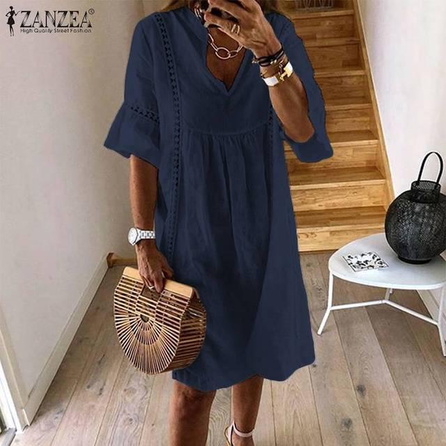 ZANZEA Summer Bohemian Lace Dress 2021 Women's V Neck Flare Sleeve Sundress Female Hollow Patchwork Robe Femme Tunic Vestidos 3