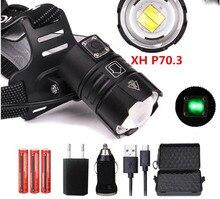 NEW XHP70.2/50 LED 30W zoom Led headlamp 5000lm best brightest powerful head lamp flashlight lantern for running