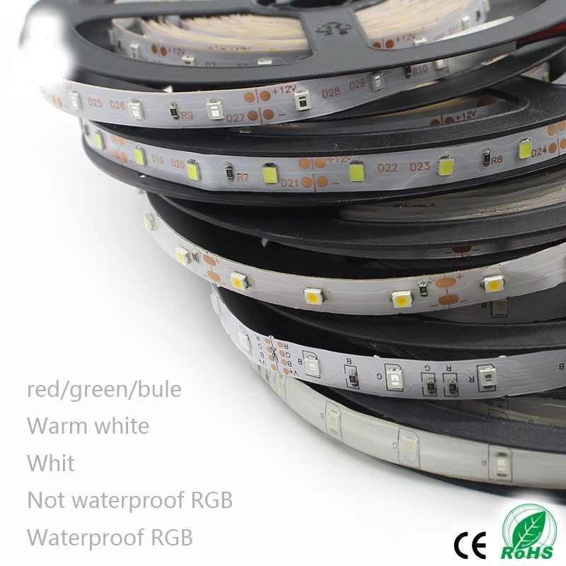 DC 12V RGB 1M 2M 3M 4M 5M led resistente al agua de 2835 blanco rojo cinta de rayas RGB cinta Flexible 1-5M 60LED/M azul verde amarillo