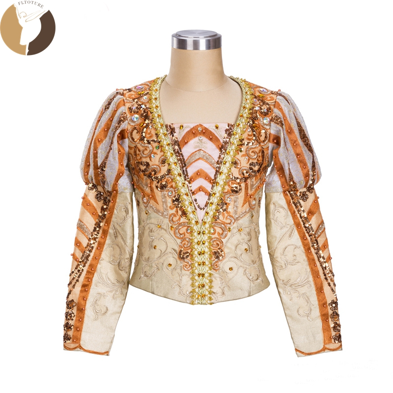 FLTOTURE Men Ballet Tunic For Sale Professional Gold Color Man's Top Stage Costumes Boy Custom Made The Sleeping Beauty Jacket