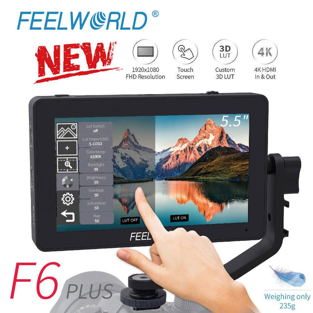 FEELWORLD F6 PLUS 5.5 Inch IPS 3D LUT Touch Screen 4K HDMI Monitor Full HD 1920x1080 DSLR Camera Field Monitor For Canon Nikon