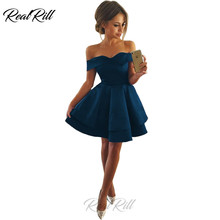 Real Rill Off The Shoulder Homecoming Dresses Strapless Lace Up Satin Short Tiered Cocktail Dress For Club Party Graduation