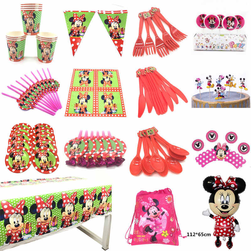 Disney Minnie Mouse Theme Party Supplies Tableware Sets Minnie Mouse Ballons Birthday Party Decoration For Kids Cup Plate Banner