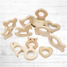 5 шт в наборе деревянный Прорезыватель для зубов Соска с животным