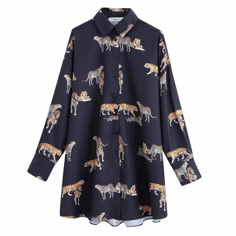 New 2020 women vintage animal print casual loose kimono blouse shirts women wild chic chemise blusas brand femininas tops LS6080(China)
