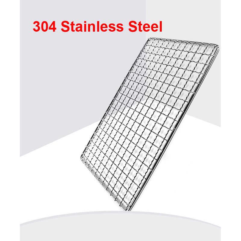 ノンスティックバーベキューグリルワイヤーメッシュ 304 ステンレス鋼バーベキューネット平方バーベキューラック火格子グリッドキャンプピクニックのためにアクセサリー