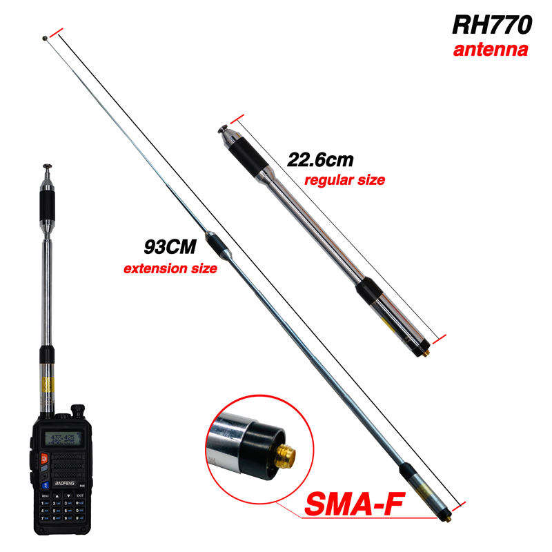 RH770 High Gain SMA-Female Telescopic Antenna Dual Band 144/430MHz For BAOFENG UV-5R UV-82 BF-888S UV 9R  Walkie Talkie RH-770
