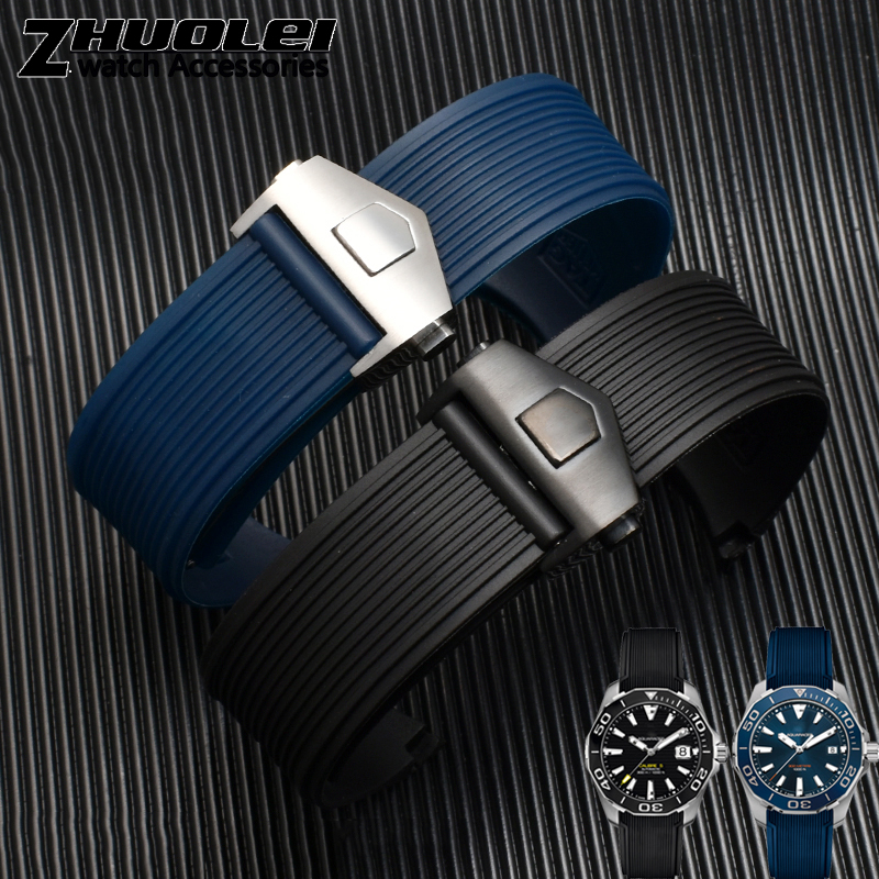 For Tag Wristband 21mm Black Blue Silicone Rubber Waterproof Soft Sports Watch Strap Wristwatches Band
