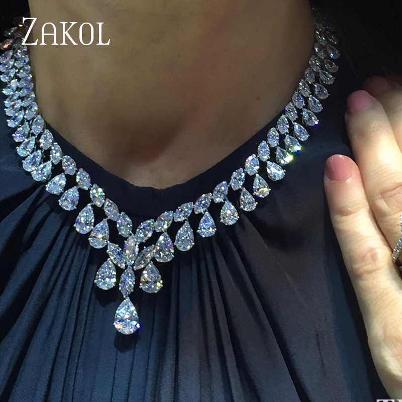 ZAKOL New Brand Water Drop Cubic Zirconia Earrings And Necklace Jewelry Set Luxury Wedding Dinner Dress Factory Price FSSP306-in Jewelry Sets from Jewelry & Accessories on AliExpress
