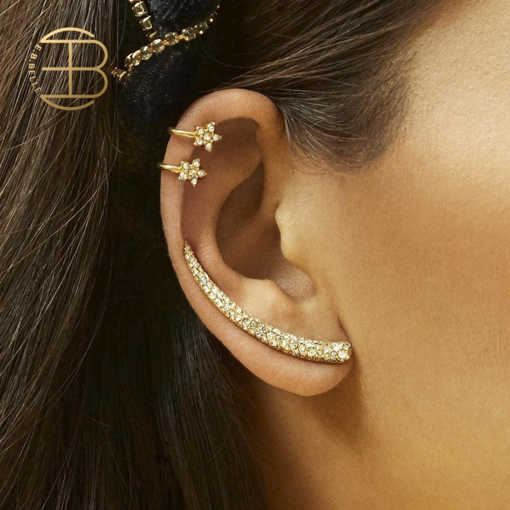 3pcs/set Rhinestone Flower Ear Cuff Long Ox Horn Shape Stud Earrings For Girl Street Style Women's Crystal Stud Earring Set image