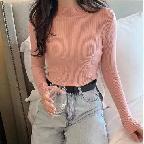 Women Sweaters Autumn Winter Turtleneck Long Sleeve Stretch Blue Knitted Pullovers Fashion Femme Soft Thin Jumper Tops 10 Colors 12