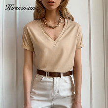 Hirsionsan – t-shirt à manches courtes et col en V pour femme, haut estival et basique, 100% coton, Harajuku