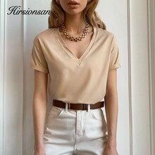 Hirsionsan 100% Cotton Summer T Shirt Women Soft Short Sleeve  V Neck Female Tees Basic Kintwear Tops Harajuku Tshirt for Ladies