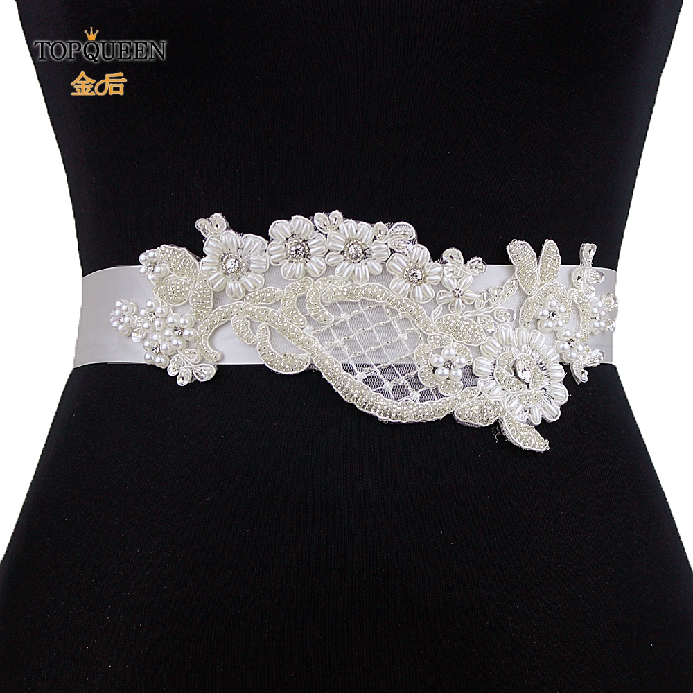 TOPQUEEN S91 Champagne Sash Pearl Thin Flower Bridal Belt Thin Pearl Belts Pearl Wedding Belt Bridal Belt Flowers Rodeo Belts