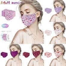 50pc adulto dia dos namorados amor impressão e-lemental máscara descartável 3 camada tecido não tecido engrossado protetor à prova de vento máscara