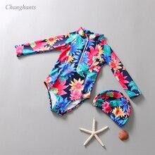Цельный купальный костюм для девочек 1-7 лет, купальный костюм для маленьких девочек, детский купальный костюм с длинными рукавами, детский купальный костюм с цветочным узором и шапочкой для плавания