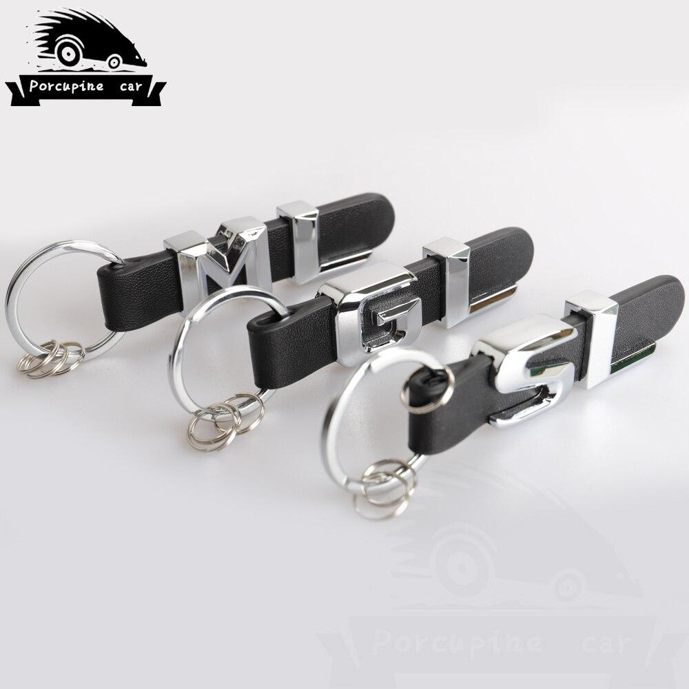 Porte-clés en cuir pour Mercedes Benz GL GLC ML SL SLK GLA GLE A B C E S R 3D voiture porte-clés porte-clés en métal porte-clés anneaux porte-clés