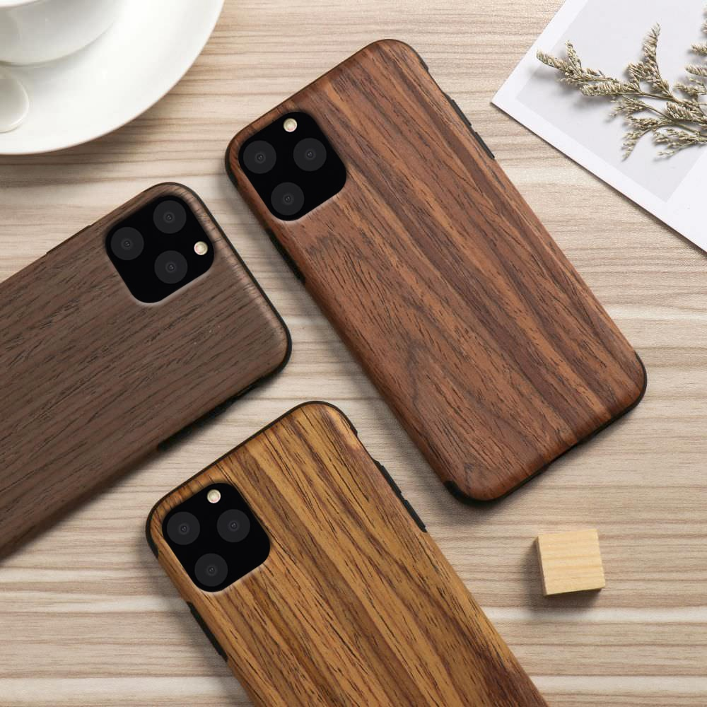 Slim Wood Grain Silicon Glitter Bumper Cover Wooden Case for iPhone 12 Pro Max
