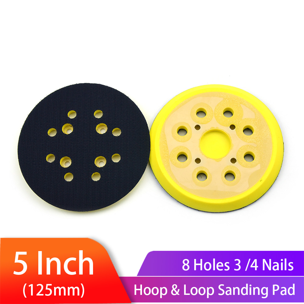 5 Inch 125mm 8 Holes 3/4 Nails Backing Pad Hoop & Loop Sanding Pads For  Fits Air Sander Power Sander Polisher Tools