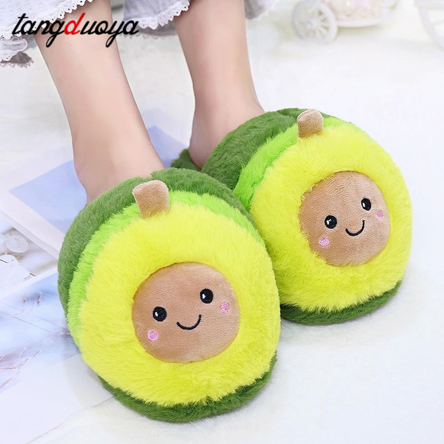 Kawaii Plush Avocado Slippers Fruit Toys Cute Pig Cattle Warm Winter Adult Shoes Doll Women Indoor Household Products size 35-43 3