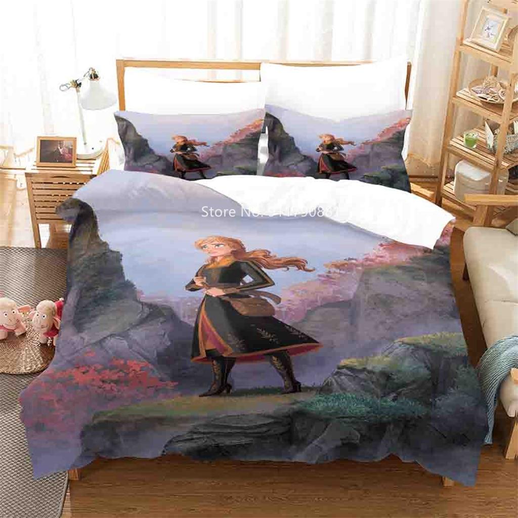 Disney Movie Characters Princess Elshana Printed Bedding Set Comfortable Duvet Quilt Cover Pillowcase Cute Girl Bedroom Decor