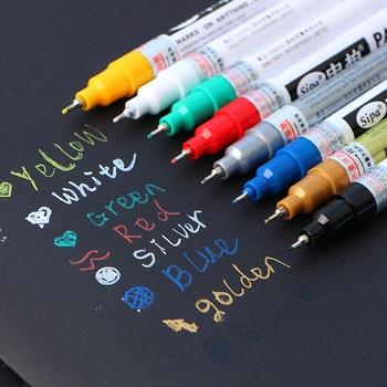 8 Colors Metallic Needle Marker Pen Fine Point Paint Non-toxic Permanent Pen Diy Art School Office Supplies defect detection on metallic and non metallic paint coating