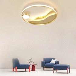 Główna sypialnia złoty projektant oświetlenia kreatywne okrągłe światło luksusowe gabinet lampy proste nowoczesne ciepły sufit pokoju