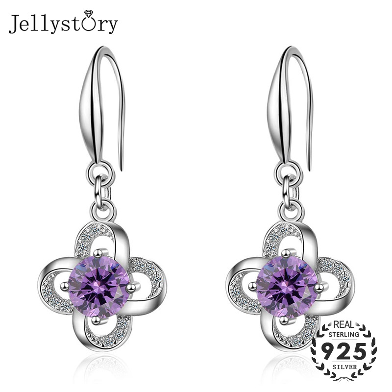 Jellystory Fashion 925 Silver Jewelry Earrings With Round Amethyst Gemstones Flower Shape Drop Earrings For Women Weddings Gifts