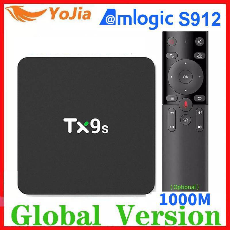 Amlogic s912 smart android caixa de tv octa núcleo conjunto superior caixa tx9s 2.4g wifi media player 2g/8g tvbox netflix youtube google 1g8g