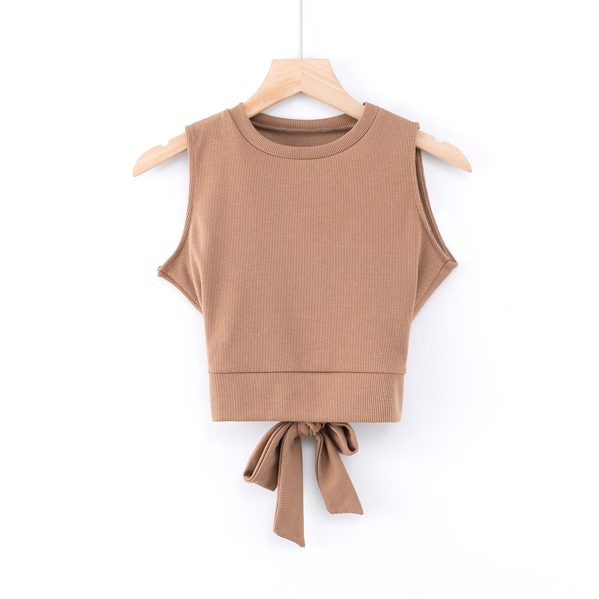 2020 Summer Sleeveless Knitted Tops Solid Color Sports Tops Back Cross Bandage T shirts Tees