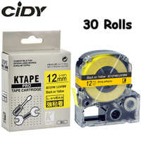 CIDY 30Pcs SC12YW/LC4YBW9 LC-4YBW Compatible For Epson/KingJim LW-300 LW-400 Black on Yellow 12mm adhesive SS12KW label tapes
