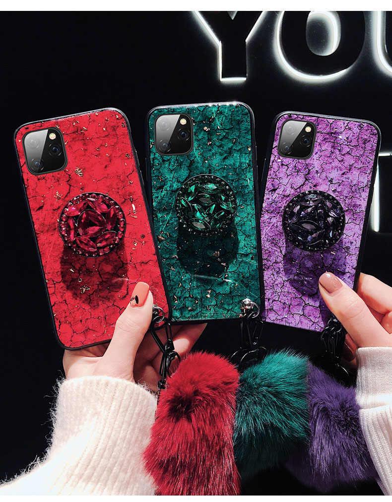 S11Plus S7Edge Note10Plus чехол s DIY Кристальный держатель + меховой шар + ремешок чехол для телефона для samsung Galaxy S8 S9 S10 note10 Plus ТПУ средства
