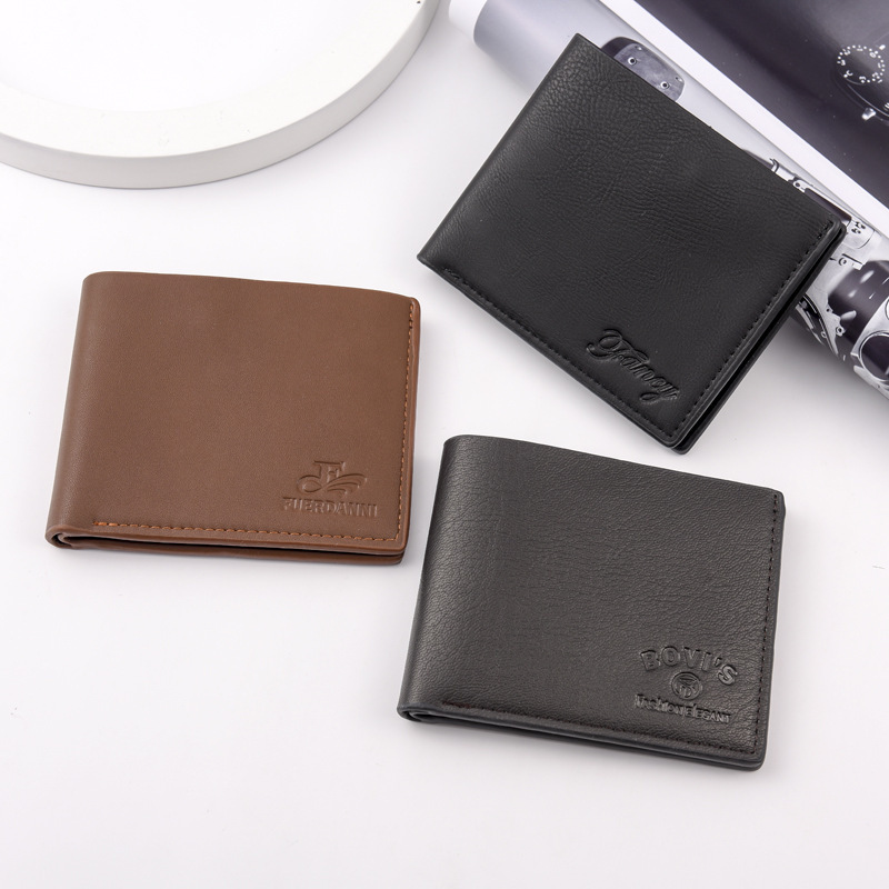 Men Wallet Vintage Card Holder Short Purse With Photo Slot PU Leather Male Wallet Cheap Money Bag Purse Bifold Solid Men Wallet