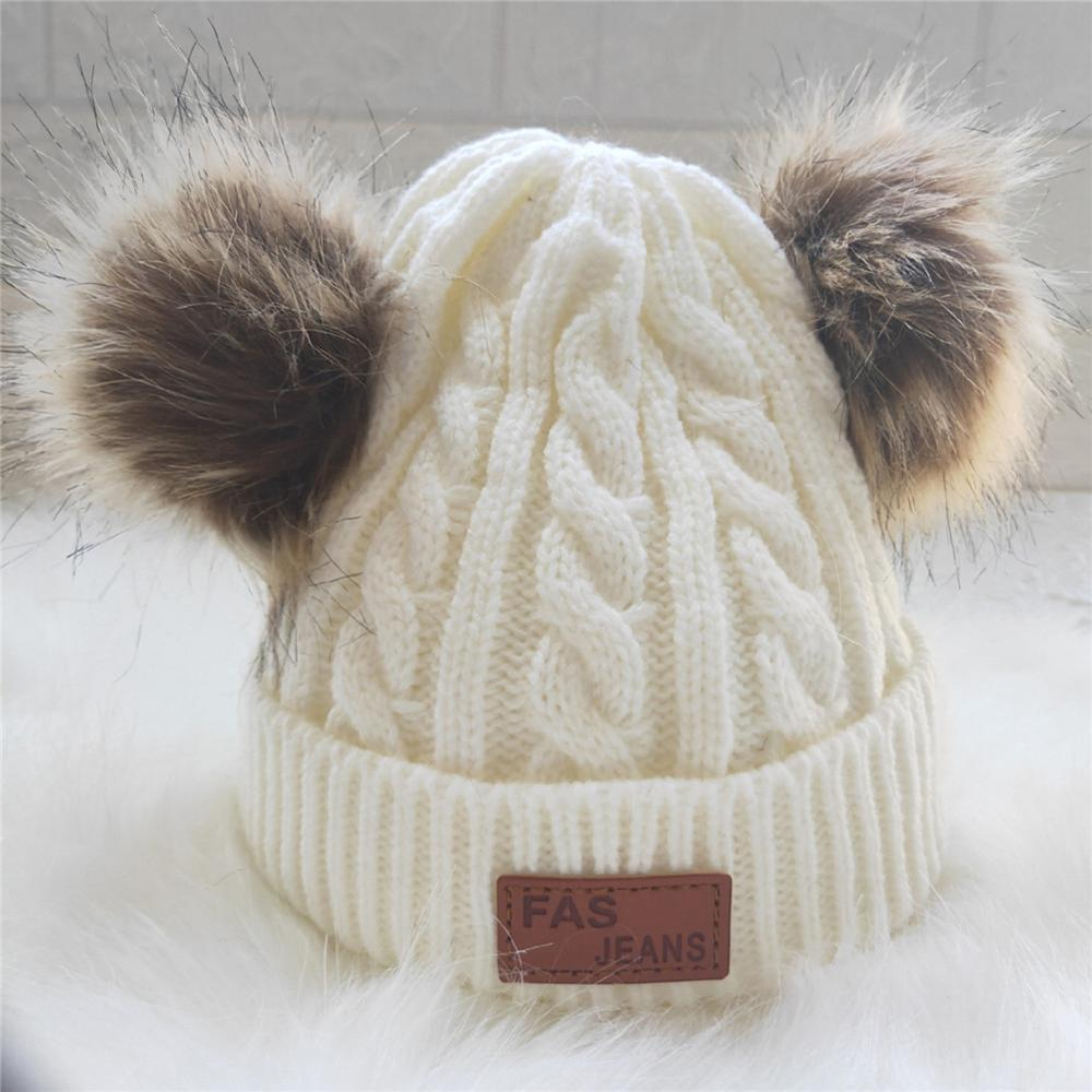 Pom Pom Hat Kids Baby Winter Warm Acrylic Beanies Hats Real Fur Pompon Hat Cap Girl Warm Knitted Solid Pink White Hats