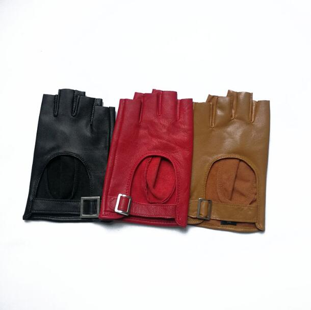 Women's Natural Sheepskin Leather Hollow Out Semi-finger Glove Female Party Dancing Driving Glove R1876