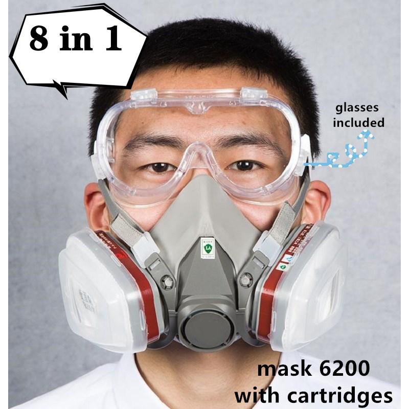 Газовая маска респиратор 6200 для Краски резиновая ткань с картриджем спрей защитные очки химической промышленности украшение защиты
