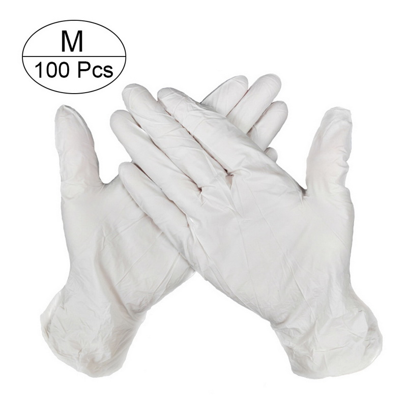 100 PCS Disposable Nitrile Gloves and Multi Purpose Latex Gloves for Virus and Flu Protection 6