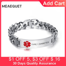 Men's Personalized Stainless Steel Chain Medical Bracelet Engraved DIABETES BLOOD THINNER Emergency Rescue Male Bangle Jewelry