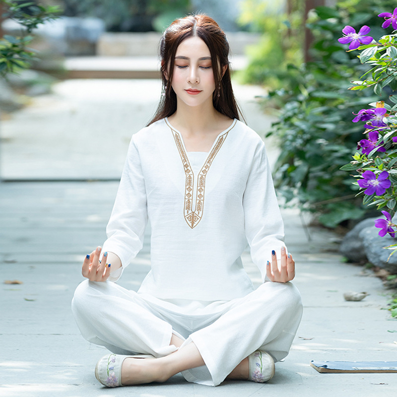 2019 Spring New Style Yoga Clothes Suit Cotton Linen Jacquard Embroidered Yoga Clothes Tai Chi Meditation Clothing Chinese Cloth