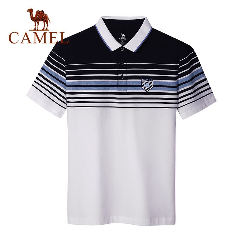 CAMEL New Summer Men's Short Sleeve Hit Color Loose Shirt Lapel Striped Breathable Outdoor Hiking Sports Male T-shirts