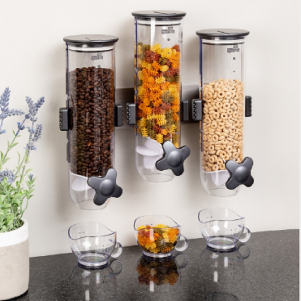 Wall Mounted Cereal Dispenser  Single Storage Box Kitchen Dry Food Organizer Container Kitchen Plastic Grain Canister  Seal