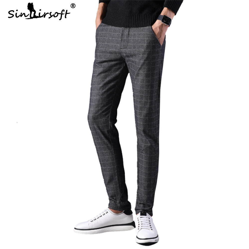 2019 New Trend Plaid Smart Business Casual Full Length Pants Mens Office Wear Straight Pants Male Slim Fit Autumn Trousers 28-40
