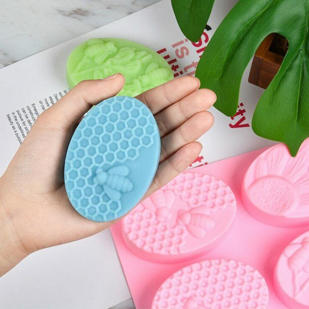 1 Pcs Oval Silicone Soap Mold Manual Soap Mold Non-stick Easy To Remove DIY Making Supplies 6 Hole
